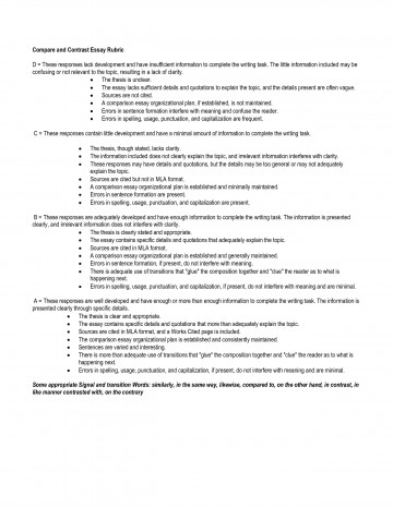 023 Essay Example Compare And Contrast Wondrous Rubric College 7th Grade 360