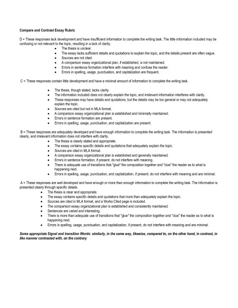 023 Essay Example Compare And Contrast Wondrous Rubric College 7th Grade 480