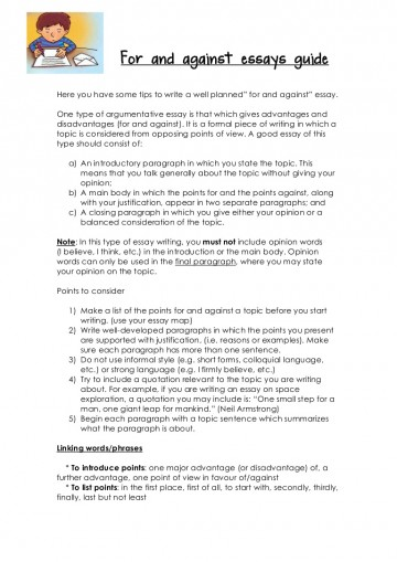 023 Essay Example For And Against Essays Guide Words To Start Off Sentence In An Forandagainstessaysguide Phpapp02 Thumbn Paragraph End The First Body Persuasive Argumentative Stunning How A Scholarship About Yourself 360