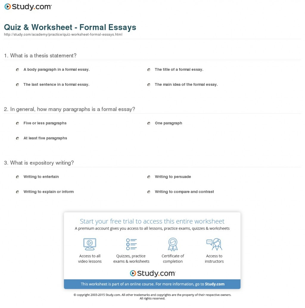 023 Essay Example Quiz Worksheet Formal Essays How Many Paragraphsre In Formidable Paragraphs Are A Argumentative Body Should Narrative Have Persuasive Large