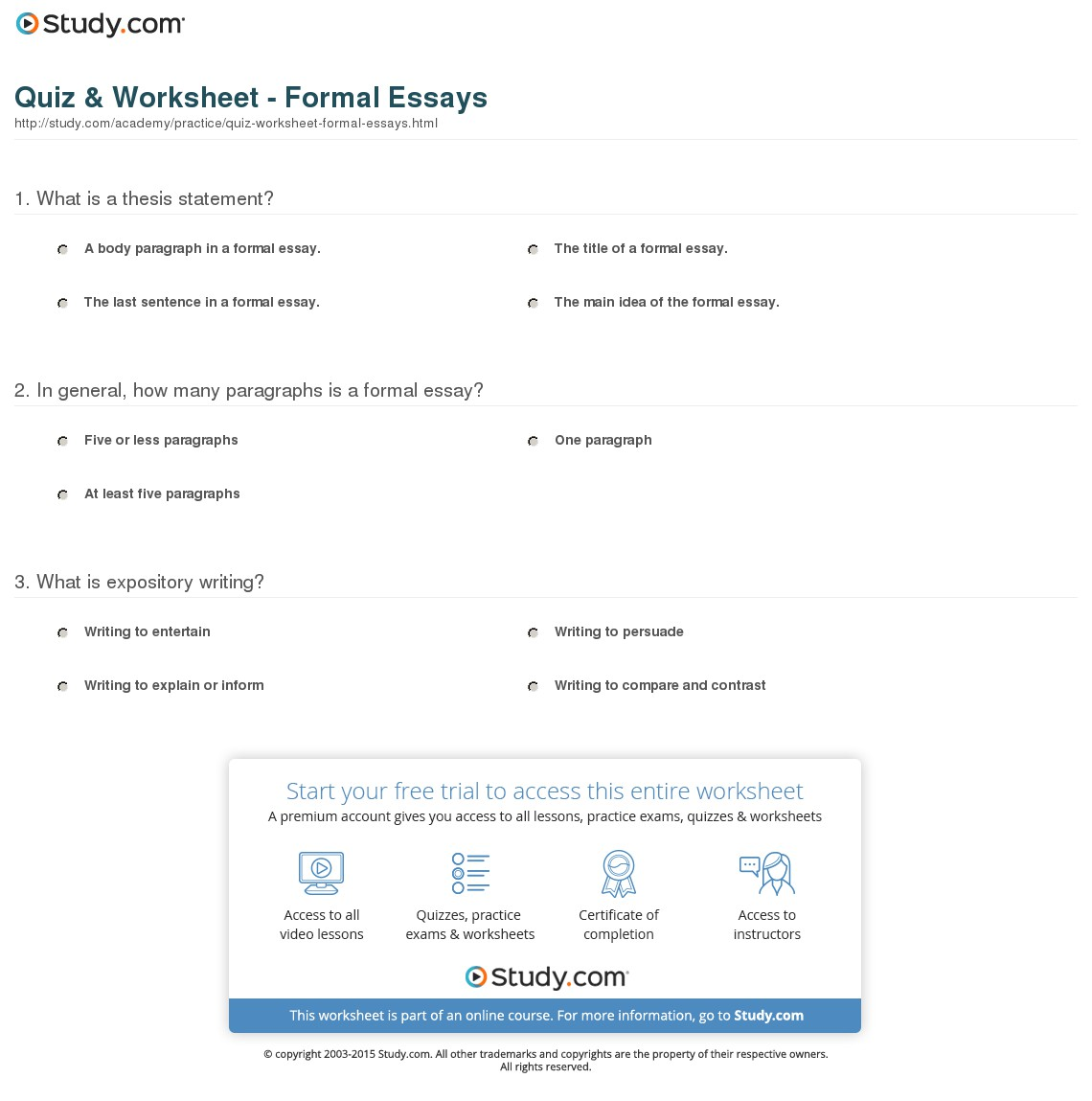 023 Essay Example Quiz Worksheet Formal Essays How Many Paragraphsre In Formidable Paragraphs Are A Argumentative Thematic Synthesis Full