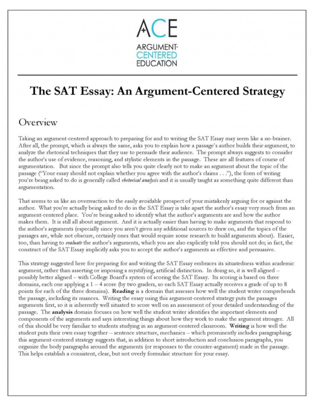 023 Essay Example Sat Satessaystrategyimage18 Rare New Tips Pdf Time Examples Large