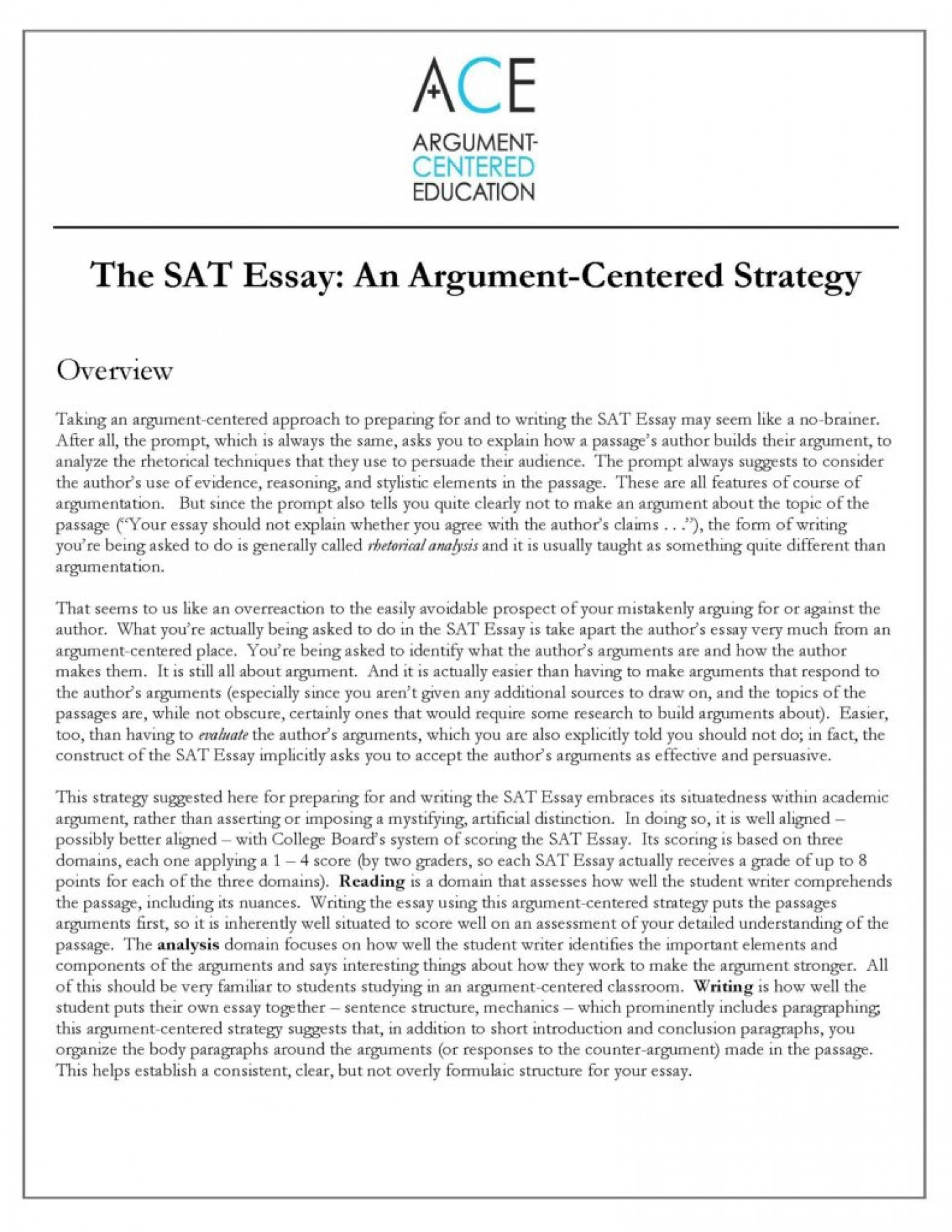 023 Essay Example Sat Satessaystrategyimage18 Rare New Tips Pdf Time Examples 1400