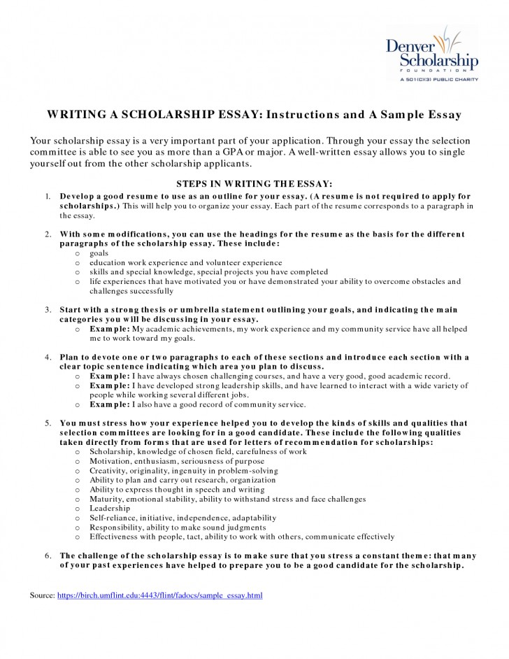 023 Essay Example What To Write For Scholarship About Yourself On Tips Writing Effective Essays Awesome A How That Stands Out Your Career Goals Financial Need 728