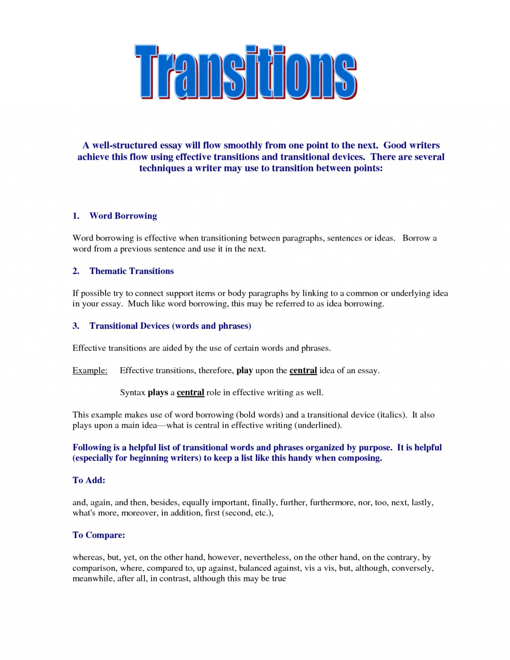 023 Good Essay Transitions Example Awesome Collection Of Transition Sentences Examples For Essays Your Stupendous Conclusion Paper Large