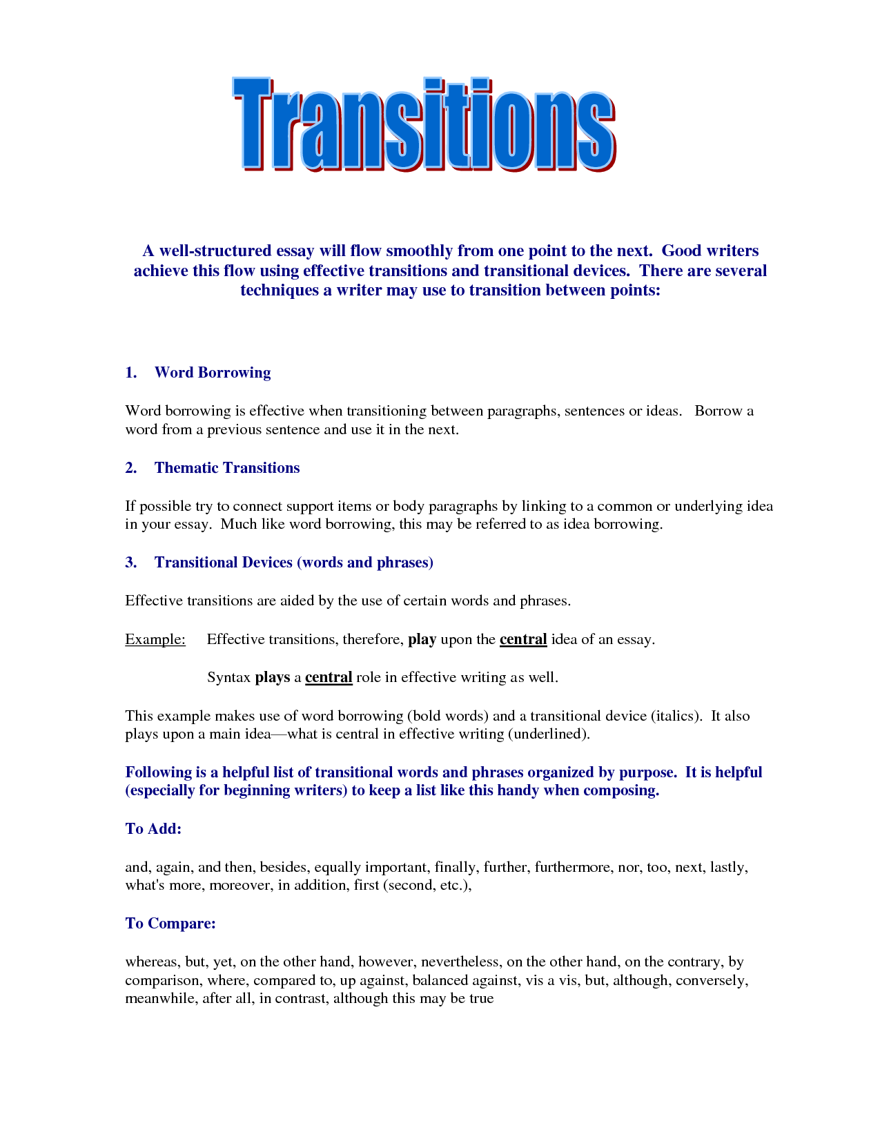 023 Good Essay Transitions Example Awesome Collection Of Transition Sentences Examples For Essays Your Stupendous Conclusion Paper Full