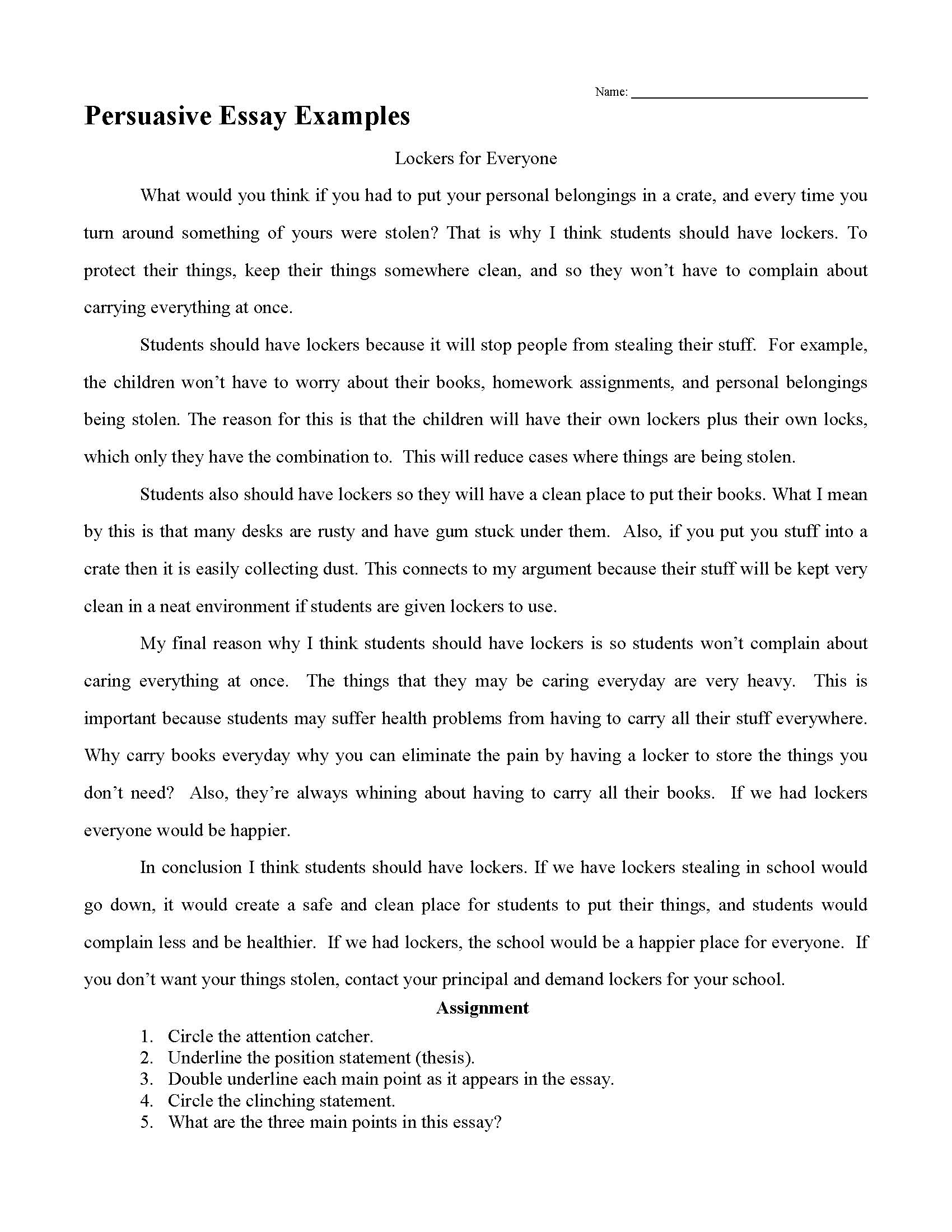 023 Persuasive Essay Example High School Examples Frightening Short Sample Essays For Students Full
