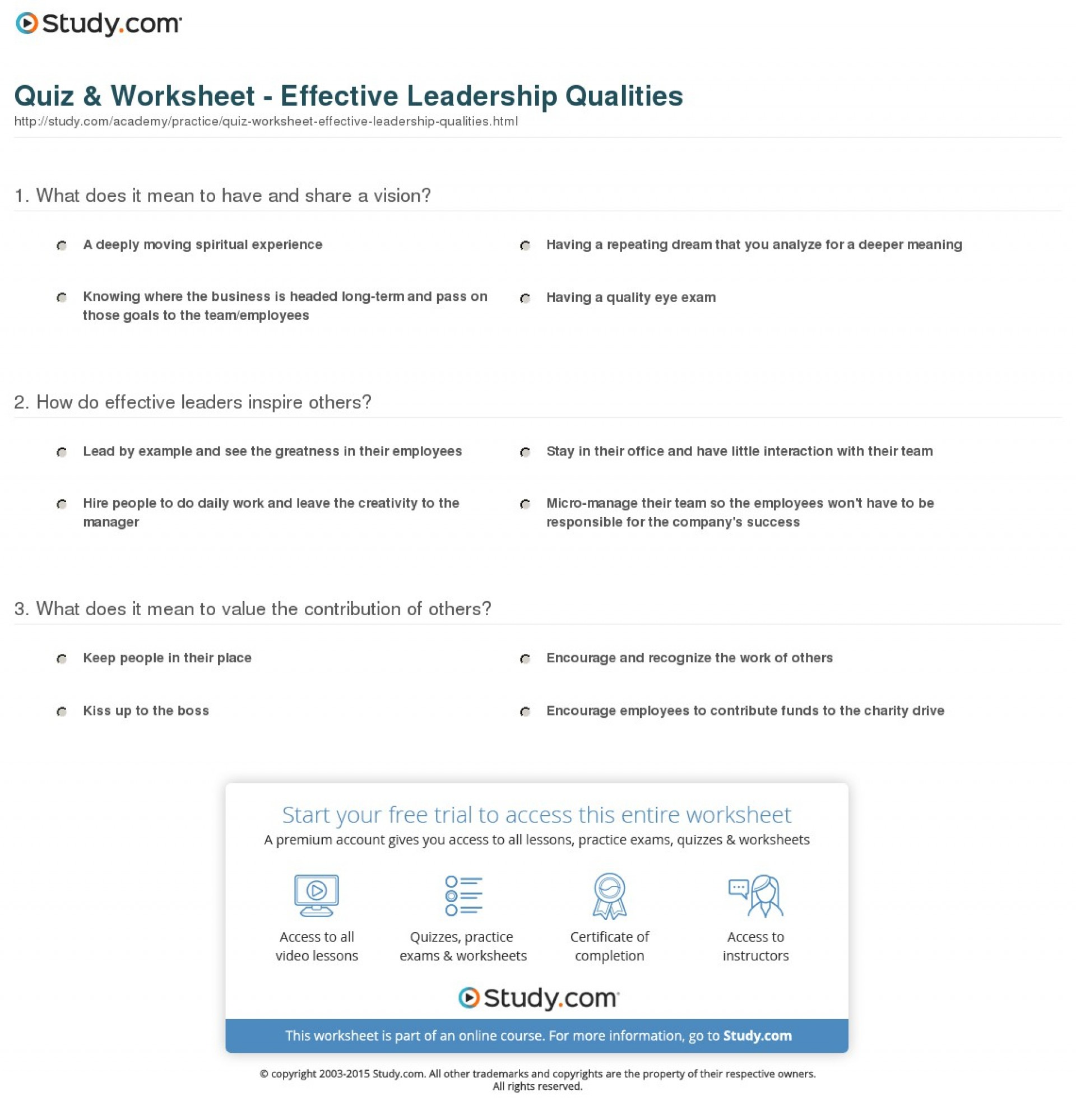 023 Quiz Worksheet Effective Leadership Qualities Essay Example Unique Examples Personal Philosophy Paper Mba College 1920