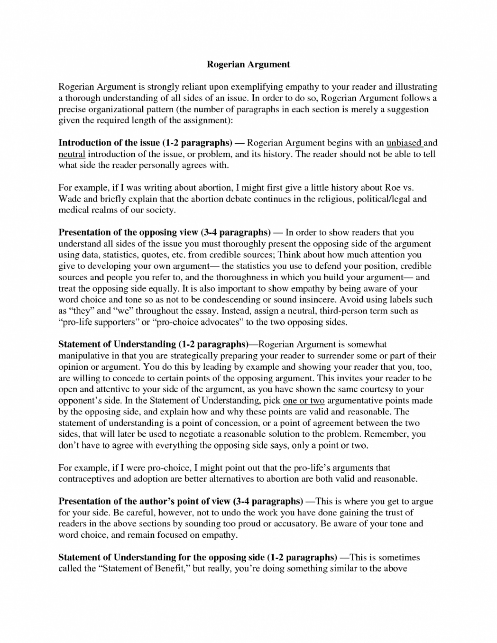 023 Rogerian Argument Essays Co How To Write An Argumentative About Abortion On Sles Of 1048x1356 Shocking Essay Example Topic Examples Outline 1920