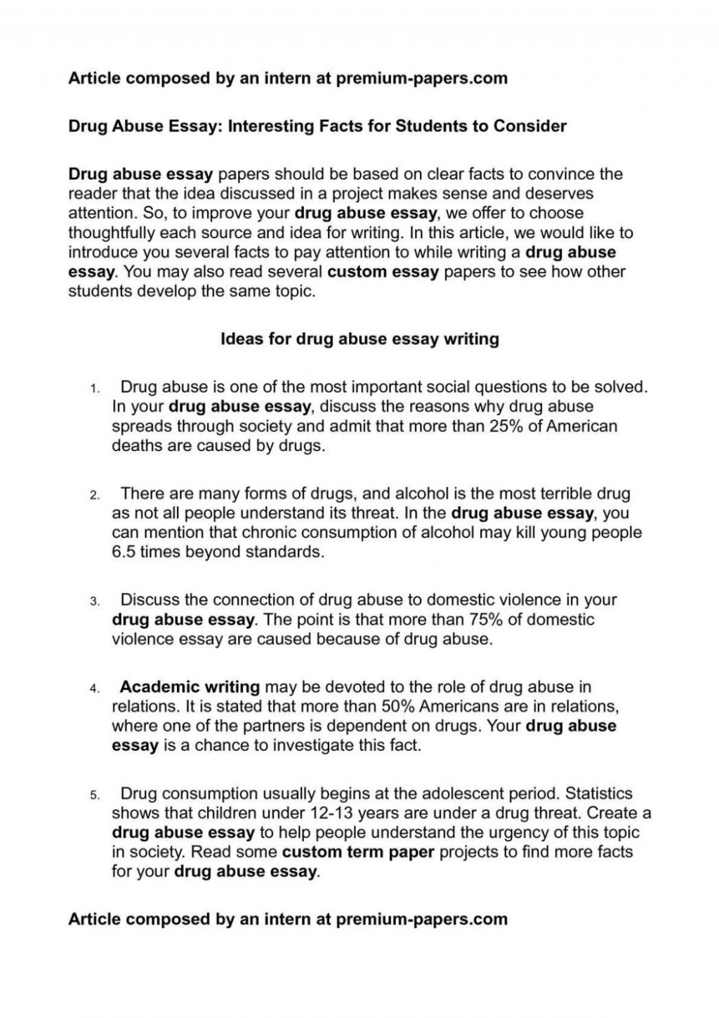 Essay about addication on drugs