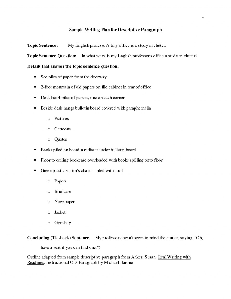 024 Essay Example Descriptive Outline Examples 448810 Impressive Middle School Format About Food 960