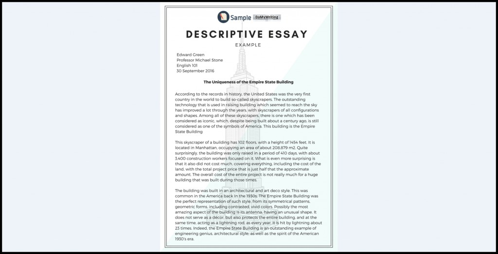 024 Essay Example Descriptives Impressive Descriptive Sample About A Place Pdf Examples For Grade 7 Samples Free Large