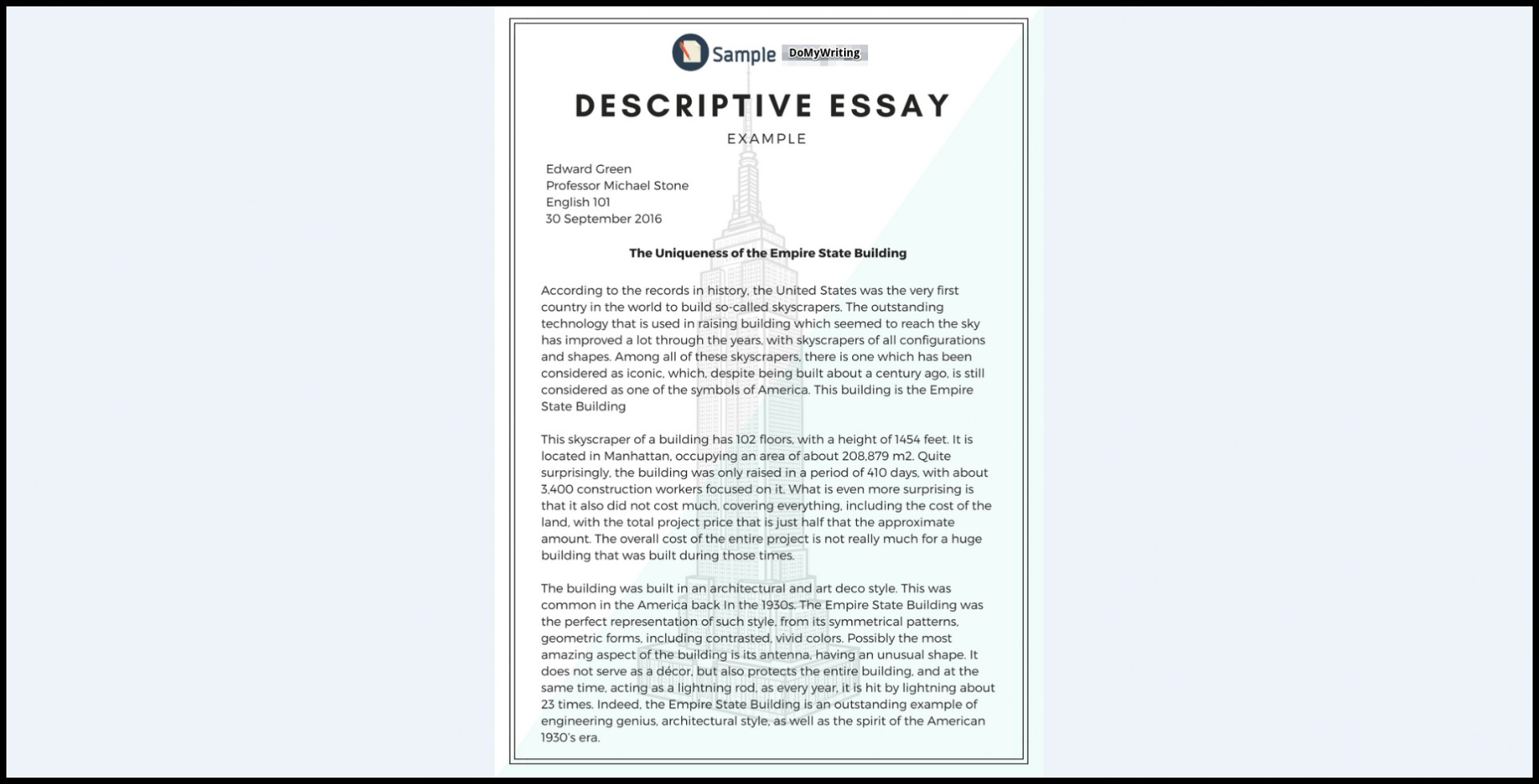 024 Essay Example Descriptives Impressive Descriptive Sample Samples About A Person Free Pdf Place 1920