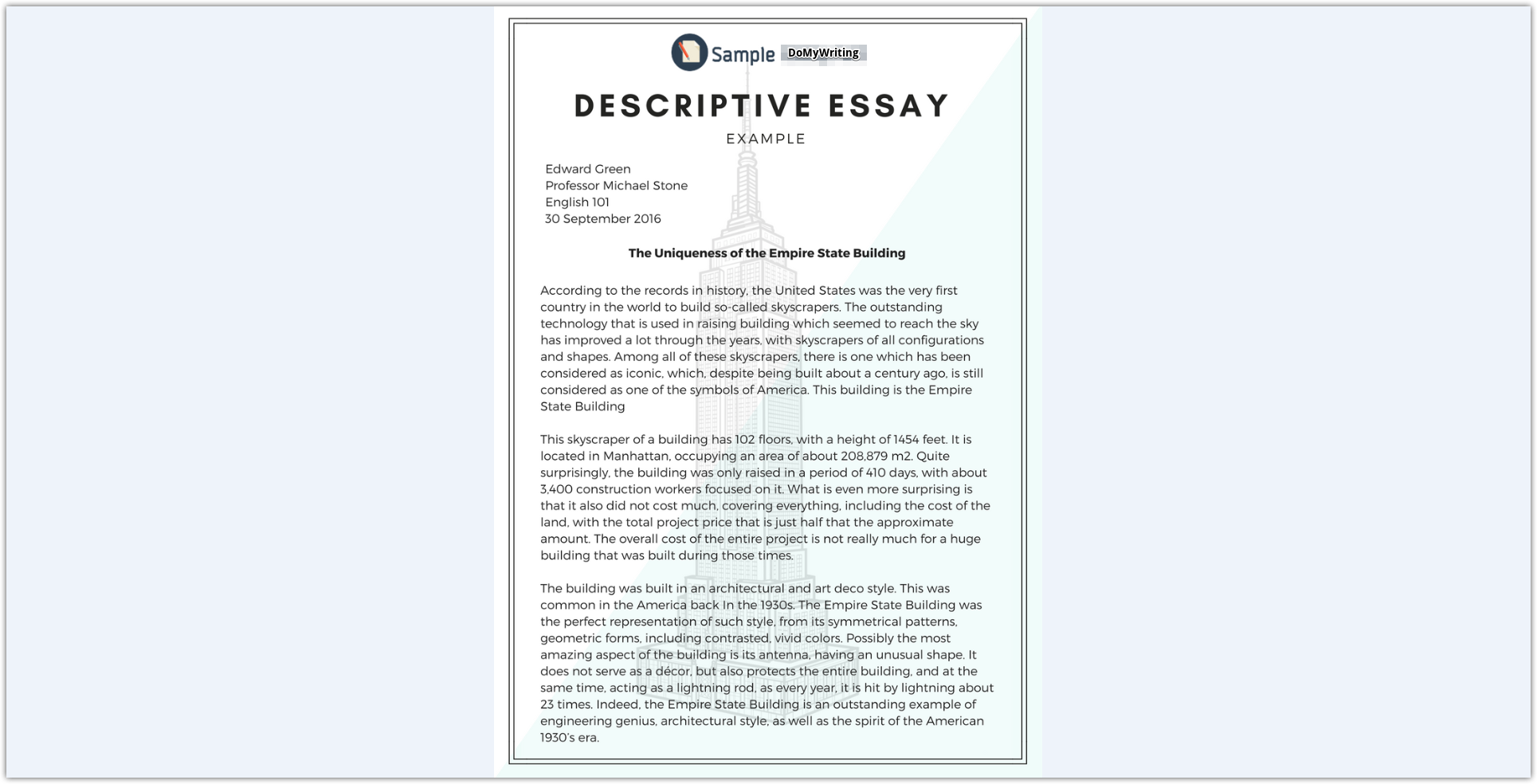 024 Essay Example Descriptives Impressive Descriptive Sample Samples About A Person Free Pdf Place Full