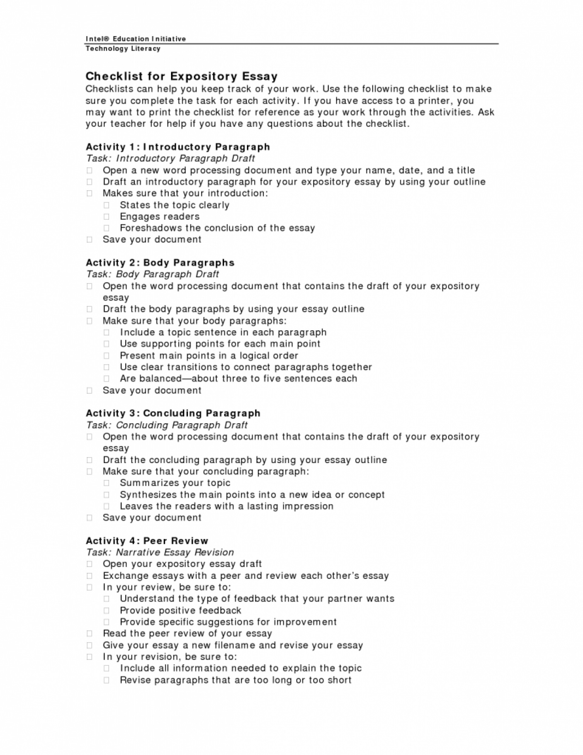 024 Essay Example Expository Checklist 791x1024 Outstanding Explanatory Examples For High School Pdf College 1920