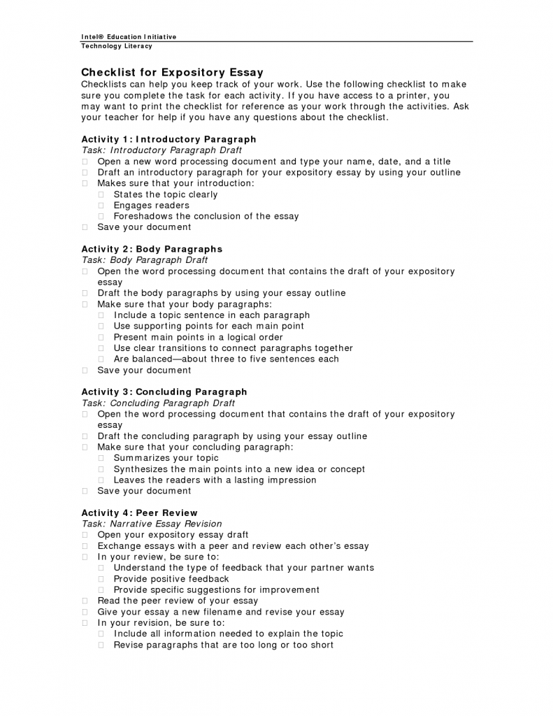 024 Essay Example Expository Checklist 791x1024 Outstanding Explanatory Examples For High School Pdf College Full