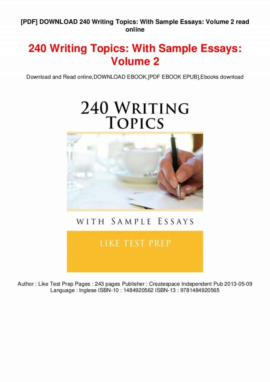 024 Essays Online To Read Pdf Download Writing Topics With Sample Volume Thumbnail Essay Remarkable Short Best Large