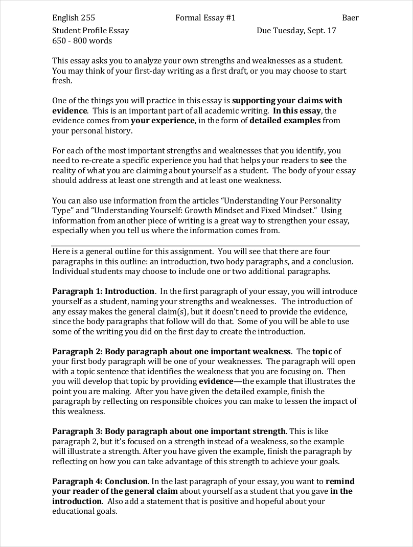 024 Examples Of Profile Essays Samples Formal Free Pdf Format Download Student Essay Sa For This Writing Assignment Your Opening Paragraph Needs To Include The Following Marvelous College Community Company Full