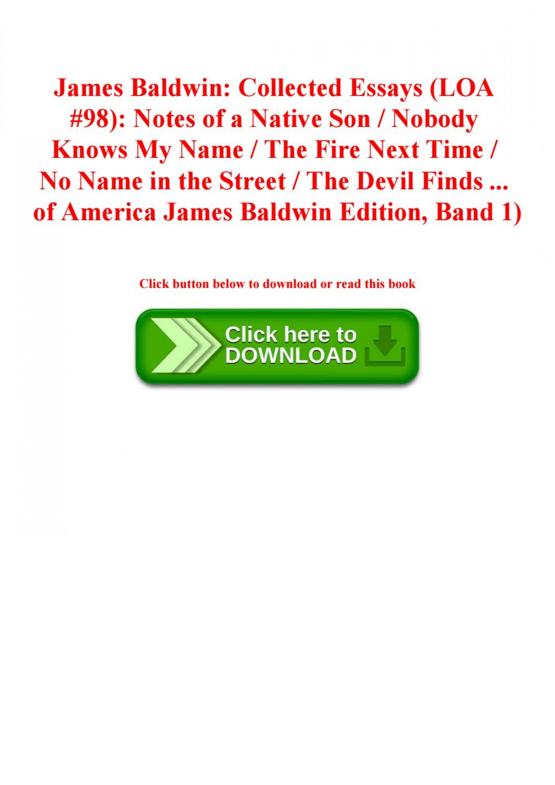 024 James Baldwin Collected Essays Essay Example Page 1 Wondrous Table Of Contents Ebook Google Books 1920