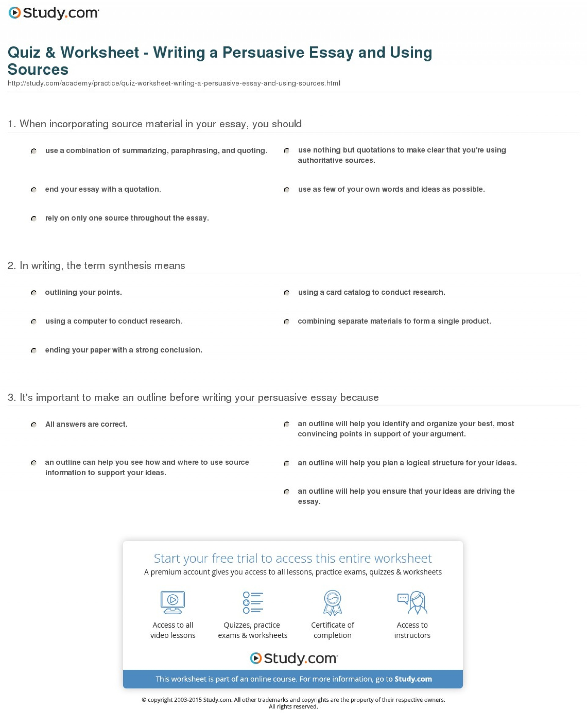 024 Persuasive Essay Example Quiz Worksheet Writing And Using Formidable A Outline Of On Gun Control 1920