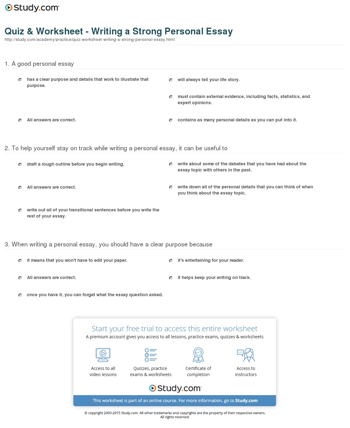 024 Quiz Worksheet Writing Strong Personal Essay What Is The Purpose Of An Wonderful Introduction In Brainly Outline For Argumentative With A Focus On Division-classification Full