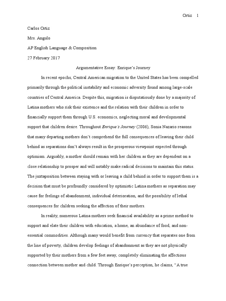 025 Argumentative Essay Enriques Journey Adolescence Substance Abuse On Social Media Pdf Unique Sample Examples College Outline Full
