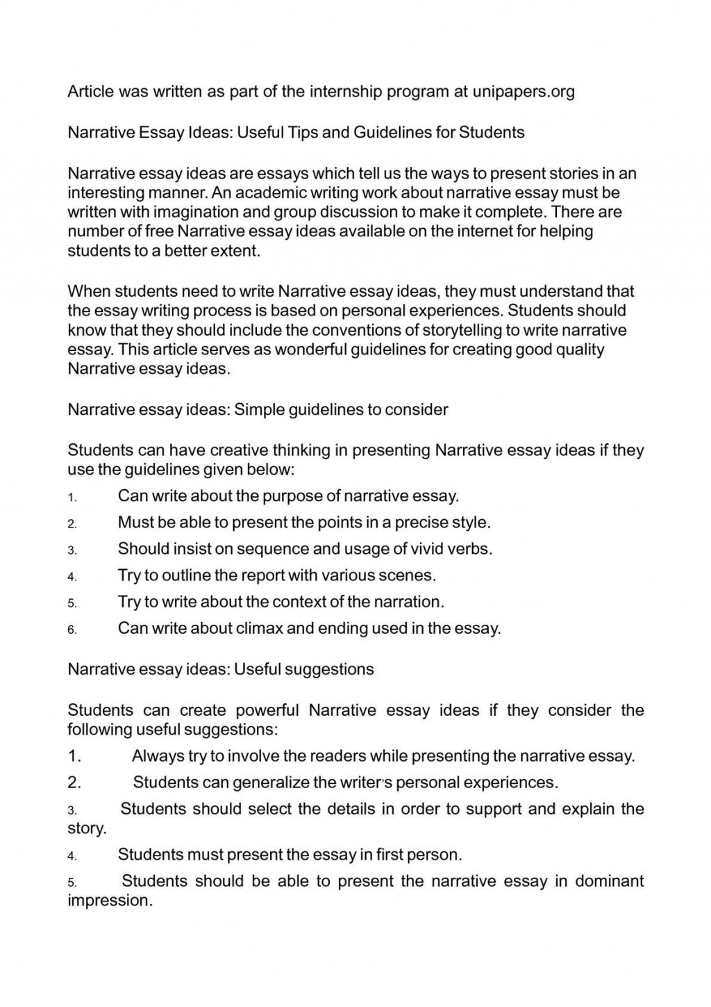 025 Writing Narrative Essay P1 Amazing A Pdf Sample High School Personal Outline Large