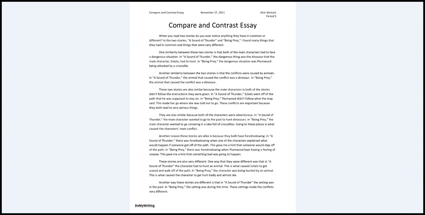 026 Essay Example Comparison And Contrast Outline Compare Impressive 5th Grade High School Template 1400