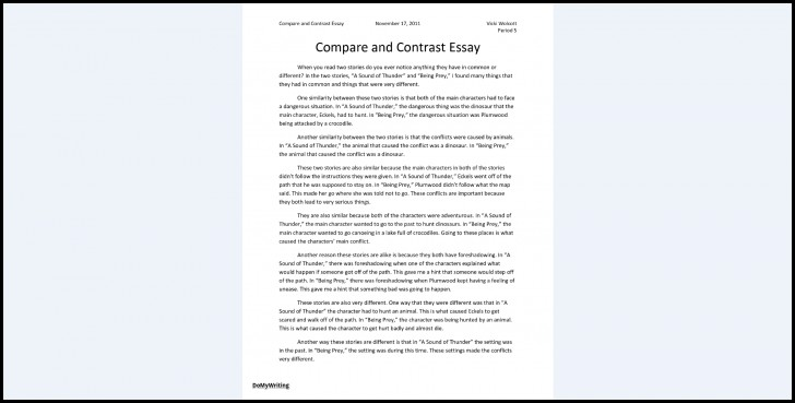 026 Essay Example Comparison And Contrast Outline Compare Impressive Format Middle School Worksheet Pdf Examples 728