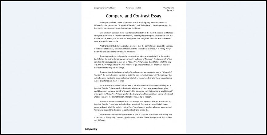 026 Essay Example Comparison And Contrast Outline Compare Impressive Format Middle School Worksheet Pdf Examples 868