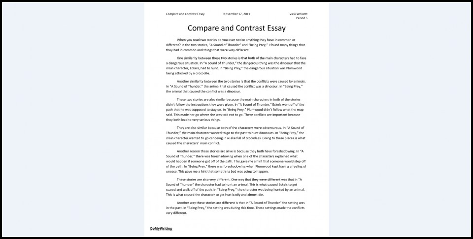 026 Essay Example Comparison And Contrast Outline Compare Impressive Format Middle School Worksheet Pdf Examples 960