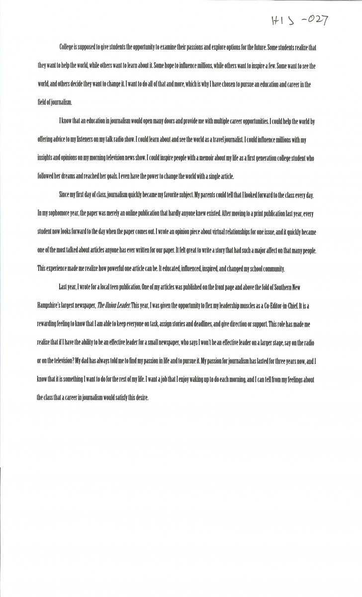 026 Essay Example First Day College Magnificent At Quotations My Pdf 728