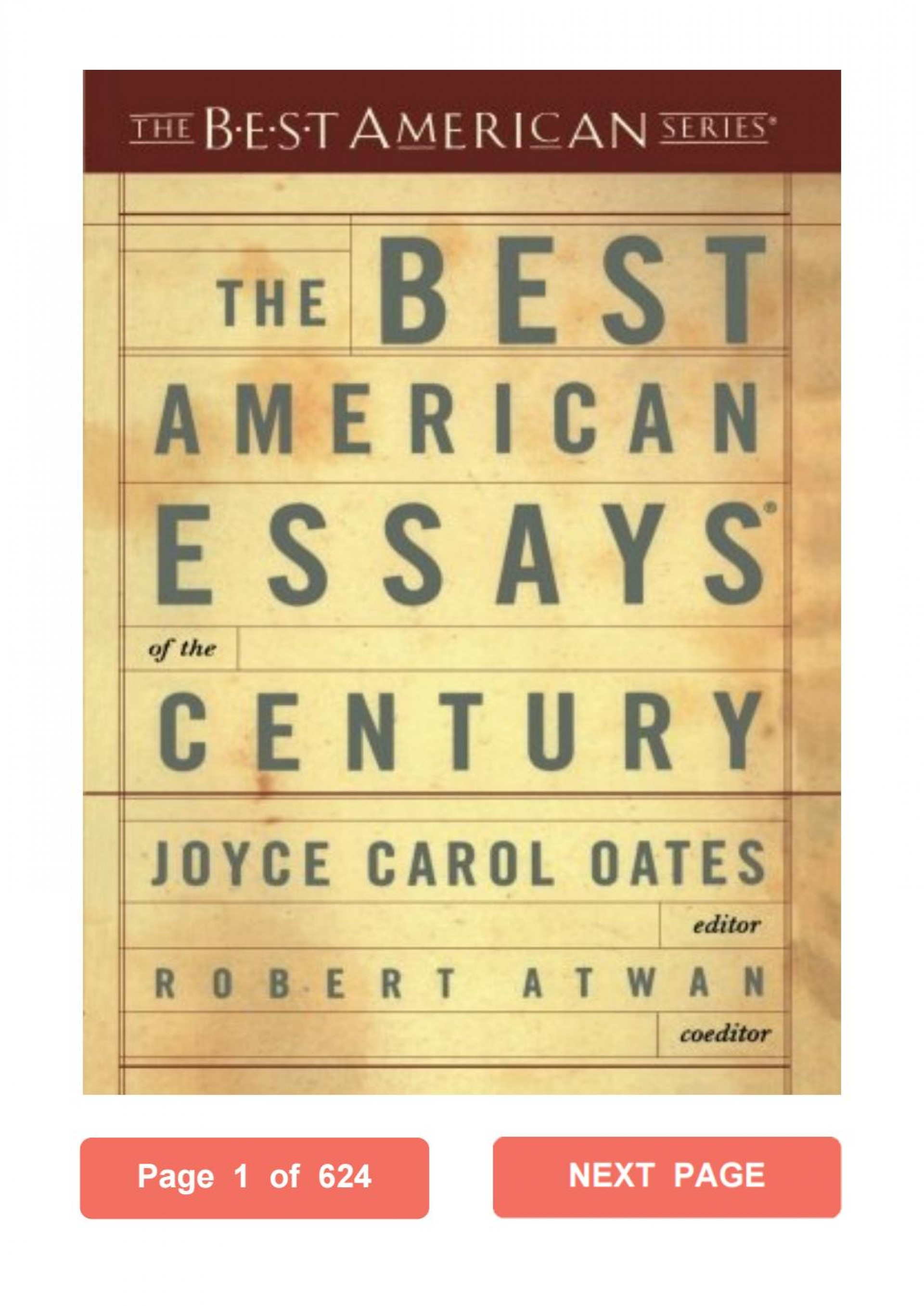 026 Essay Example The Best American Essays Of Century Page 1 Imposing Contents Summaries 1920