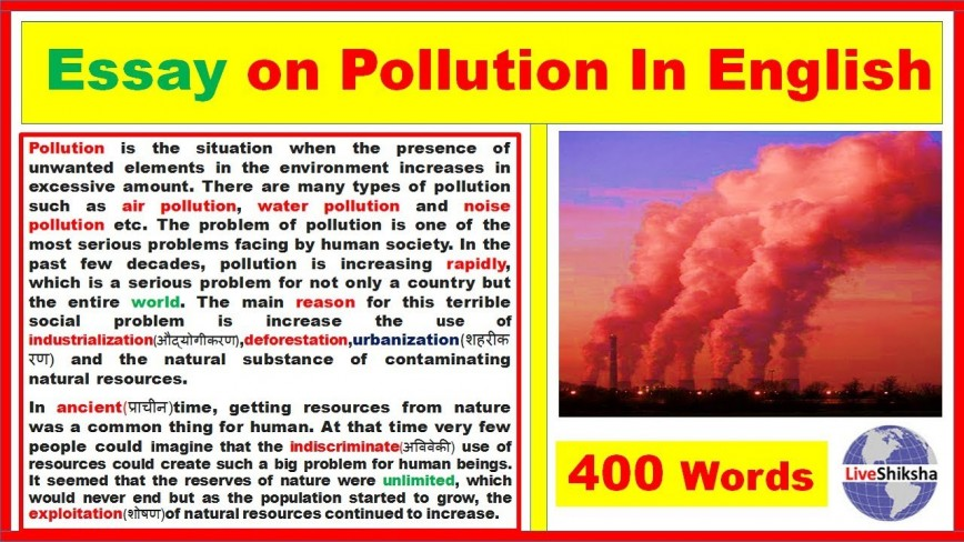 026 Essay On Air Pollution For Kids Example Sensational