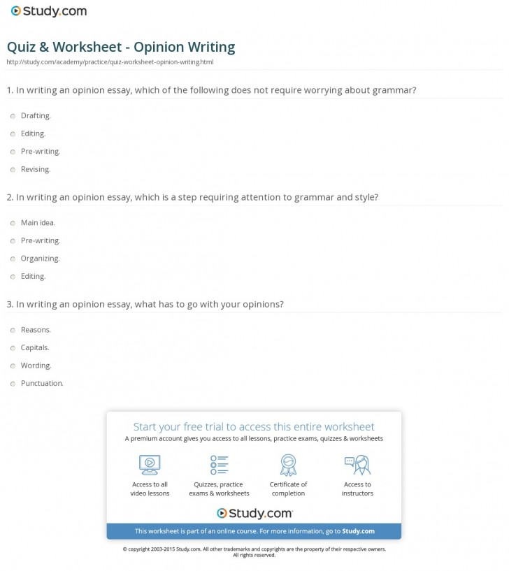 026 How To Write An Opinion Essay Quiz Worksheet Writing Unbelievable Conclusion On A Book Video 728