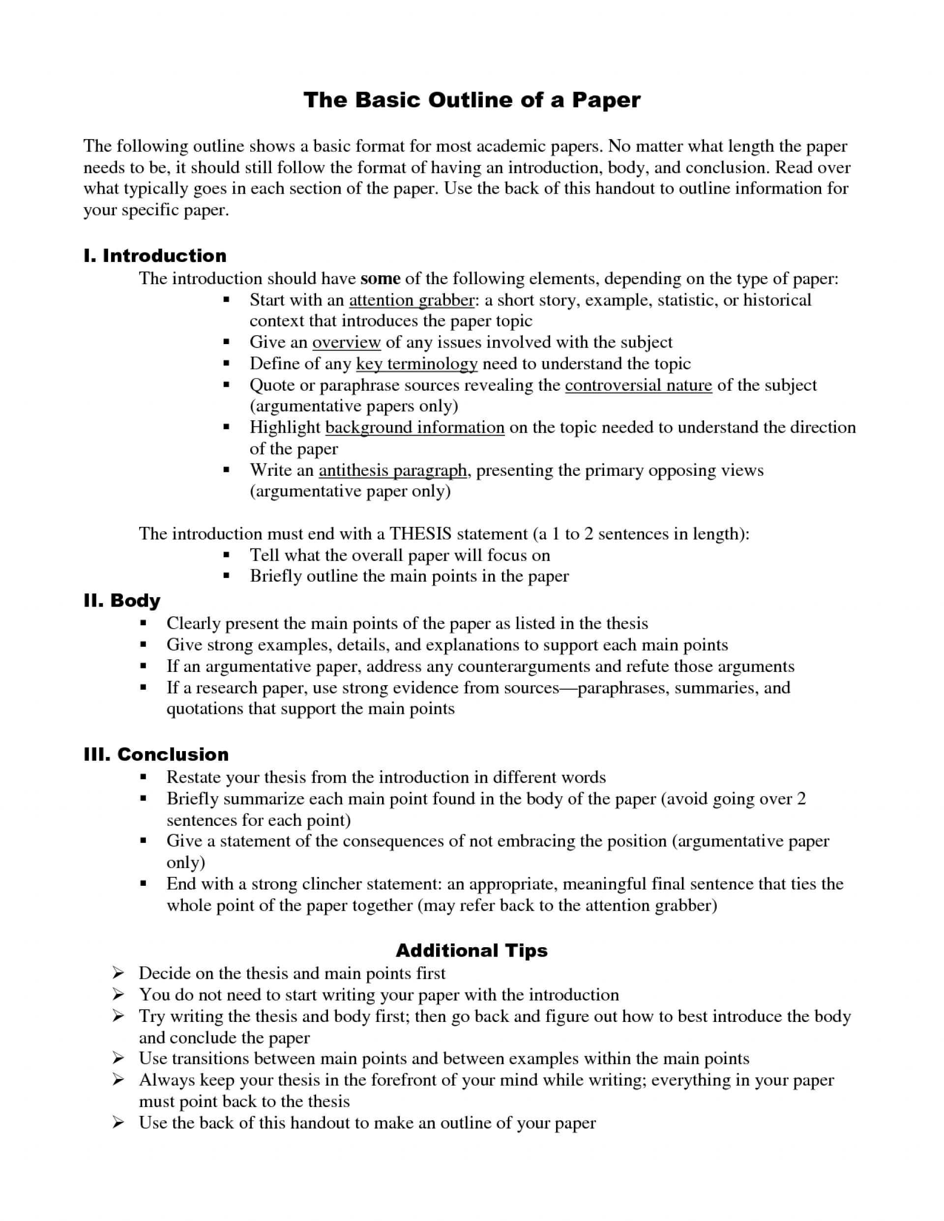026 How To Write An Outline Essay Excellent In Mla Format College 1920