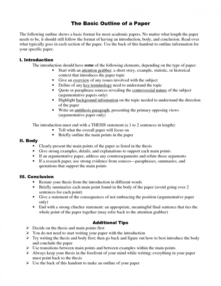 026 How To Write An Outline Essay Excellent In Mla Format College 728