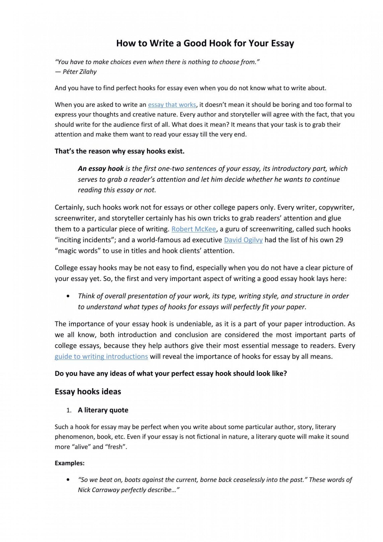 026 Page 1 Good Essay Hooks Rare Generator Best Ever College 1920