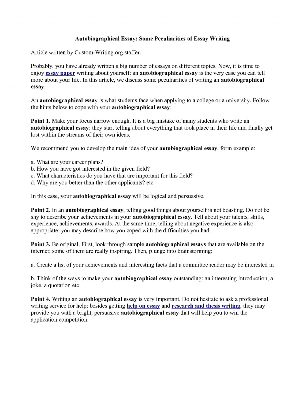 027 Essay Example Autobiography Of Telling About Yourself Luxury Unique Pdf Examples For College Large