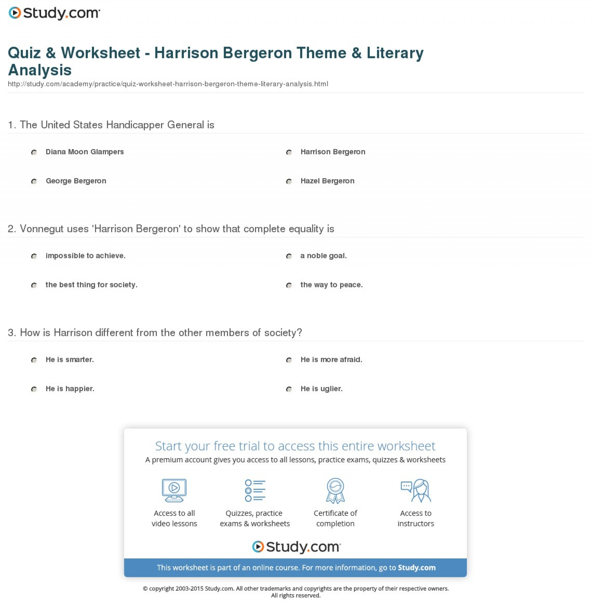 027 Essay Example Theme Quiz Worksheet Harrison Bergeron Literary Staggering Book Conclusion 1920