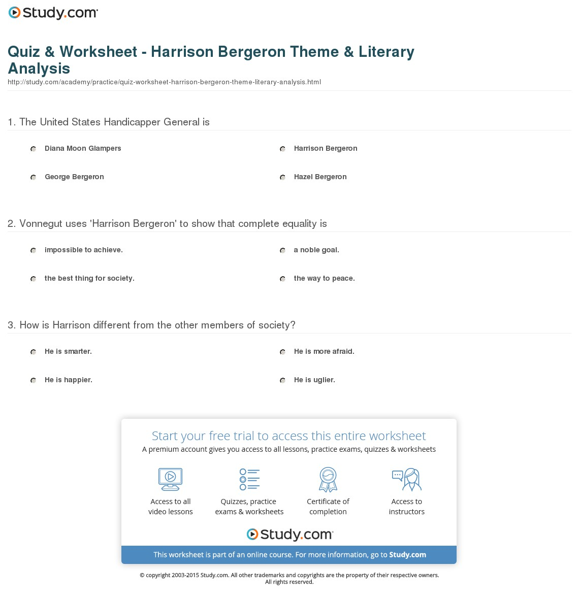 027 Essay Example Theme Quiz Worksheet Harrison Bergeron Literary Staggering Book Conclusion Full