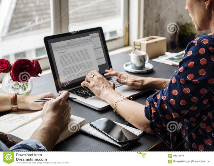 027 Woman Working Laptop Typing Essay Information Impressive Websites Test Online Practice