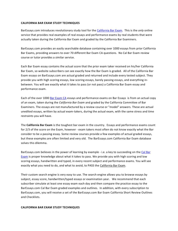 028 Essay Example California Bar Essays Page 1 Marvelous Exam Graded February 2018 How Are Full