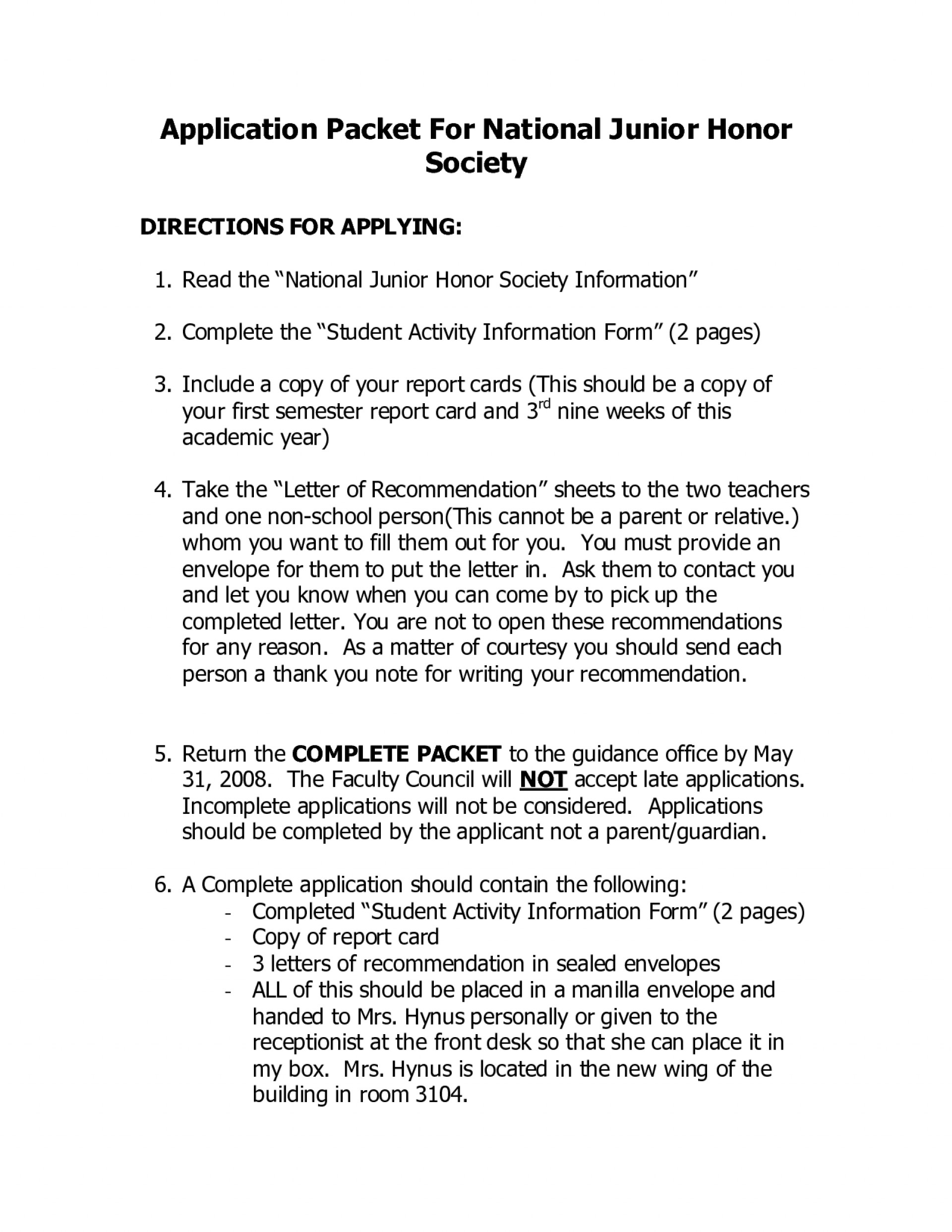 national honor society application example