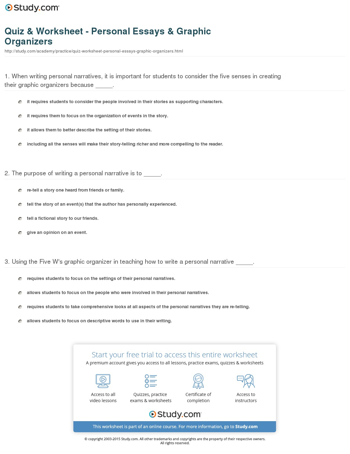 028 Quiz Worksheet Personal Essays Graphics Essay Example Narrative Incredible Graphic Organizer Middle School Pdf Story Full