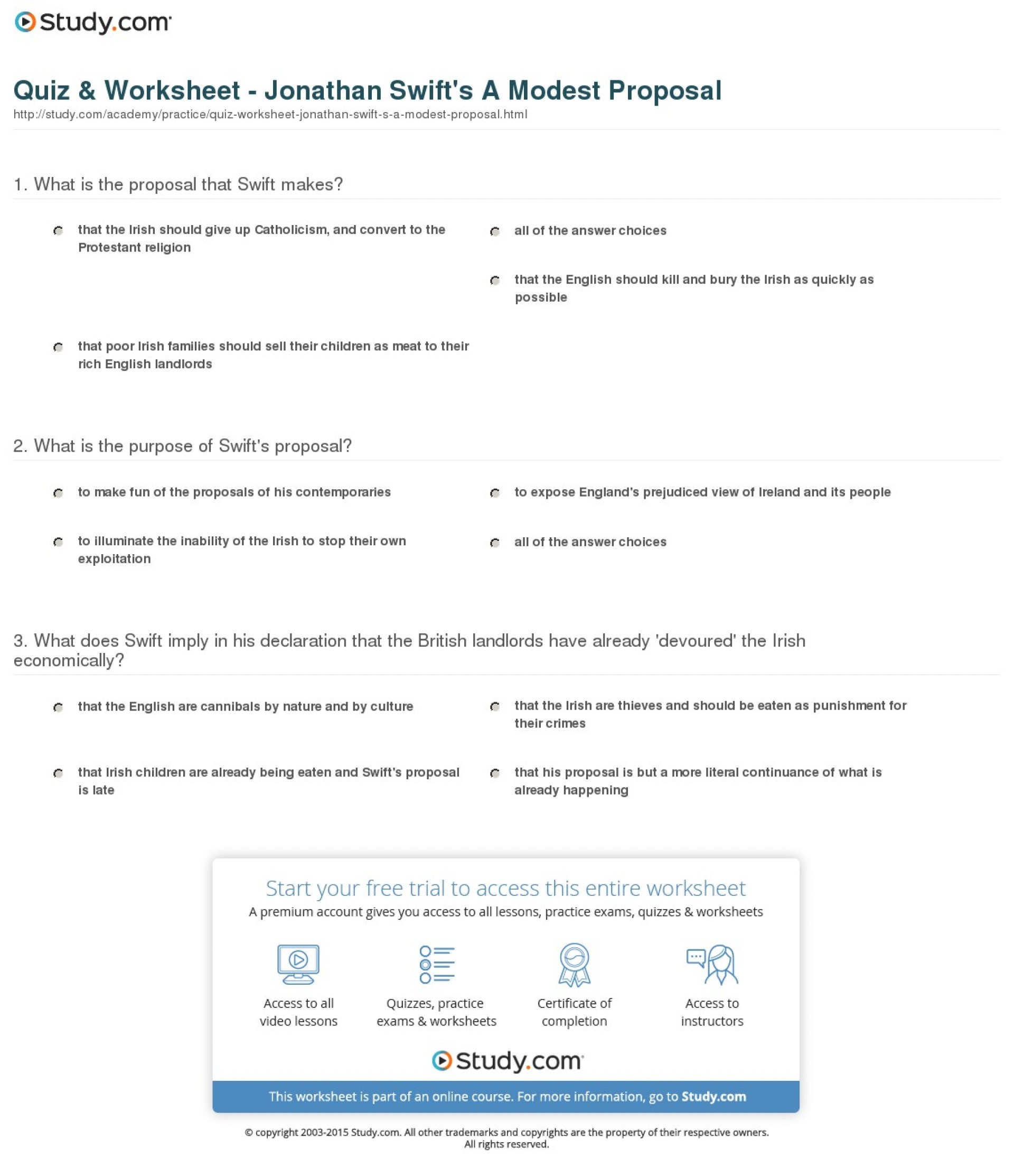 029 Quiz Worksheet Jonathan Swift S Modest Proposal Essay Stunning Examples Free Thesis Example Solution 1920