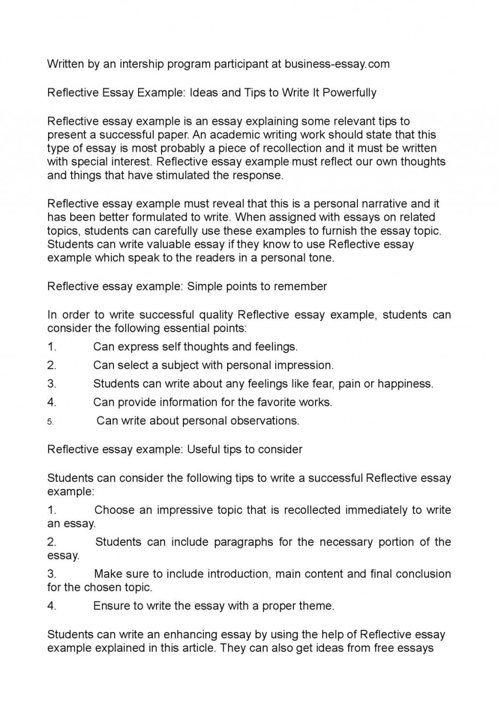 029 Reflective Essay Example Unforgettable Examples About Life Pdf High School Students Apa Large