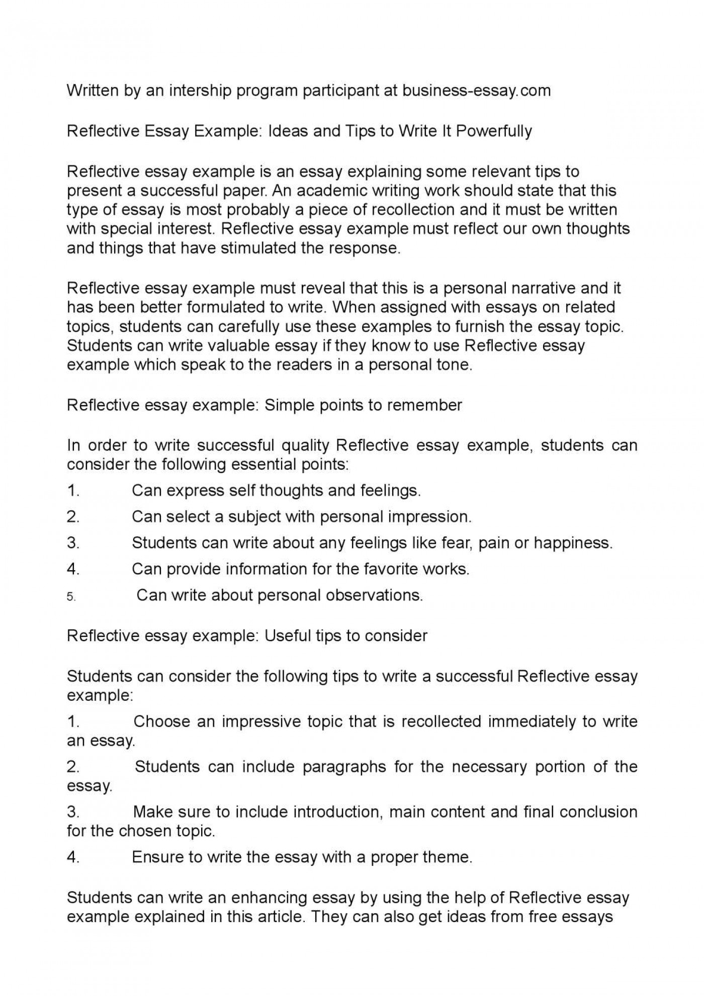 029 Reflective Essay Example Unforgettable Examples About Life Pdf High School Students Apa 1400