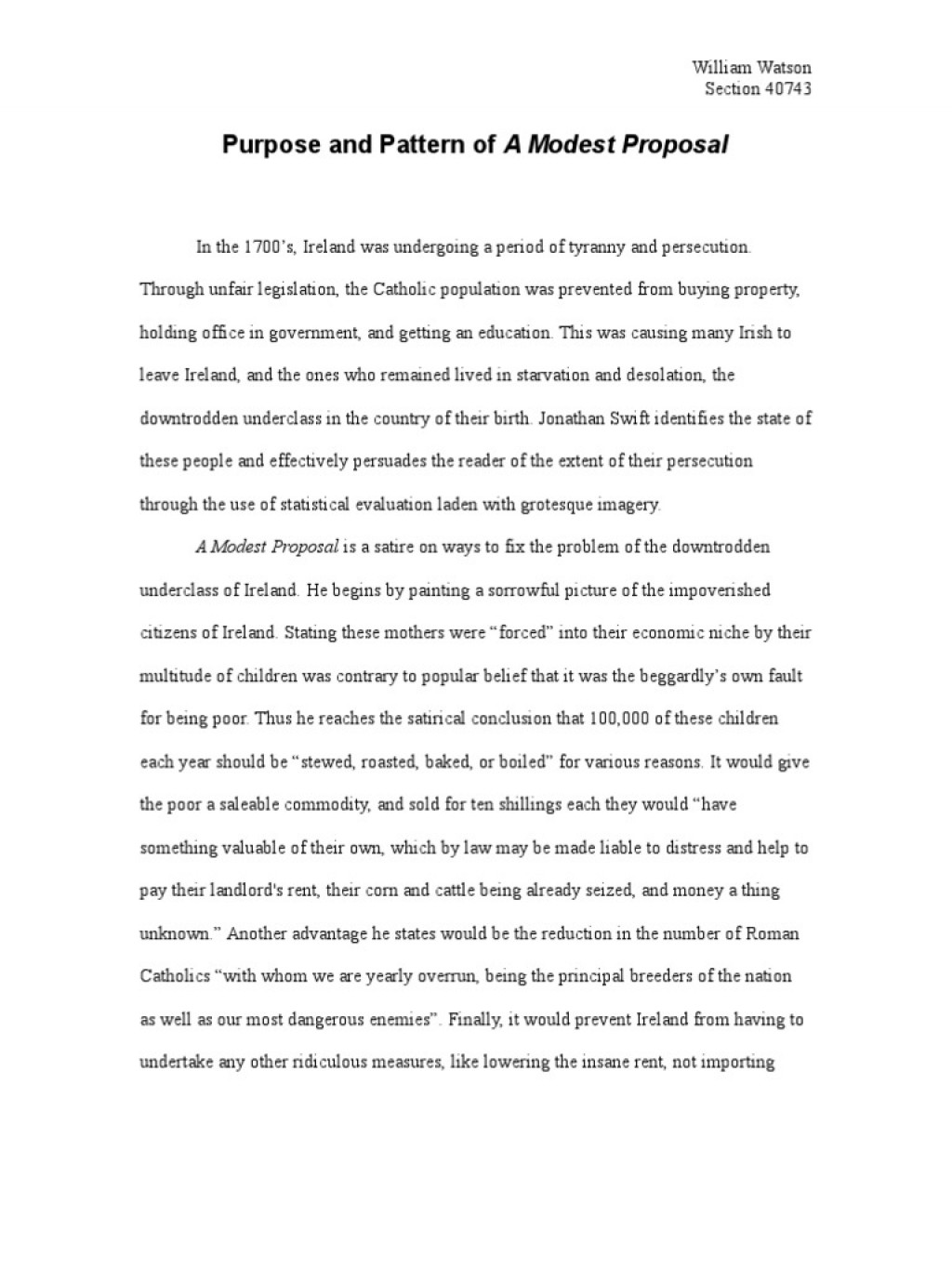 029 Satirical Essay Topics Example Worksheet Modest Proposal Answers Grass Frightening Ideas For High School Topic Large
