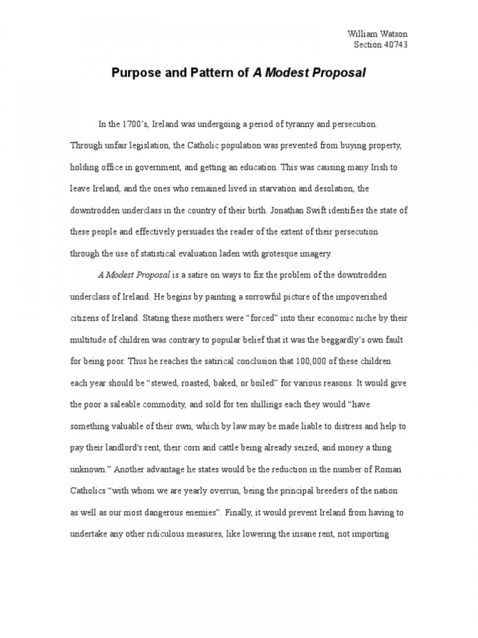 029 Satirical Essay Topics Example Worksheet Modest Proposal Answers Grass Frightening Satire On Obesity For College 111 960